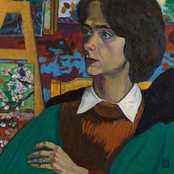 portrait of the art critic, 20 x 25 inch, moesey li,portrait paintings,paintings for living room,paintings,canvas,oil paint,20x25inch,GAL07181963