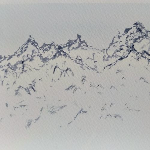 higher in himalayas, 6 x 8 inch, jalpa chauhan,paintings,landscape paintings,nature paintings,minimalist paintings,paintings for dining room,paintings for living room,paintings for office,paintings for bathroom,paintings for kids room,paintings for hotel,paintings for hospital,brustro watercolor paper,watercolor,6x8inch,GAL0669719634Nature,environment,Beauty,scenery,greenery