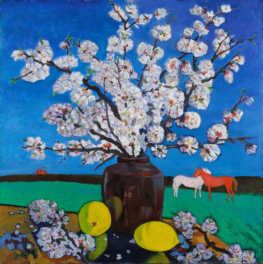 spring, 24 x 24 inch, moesey li,flower paintings,paintings for living room,paintings,canvas,oil paint,24x24inch,GAL07181964