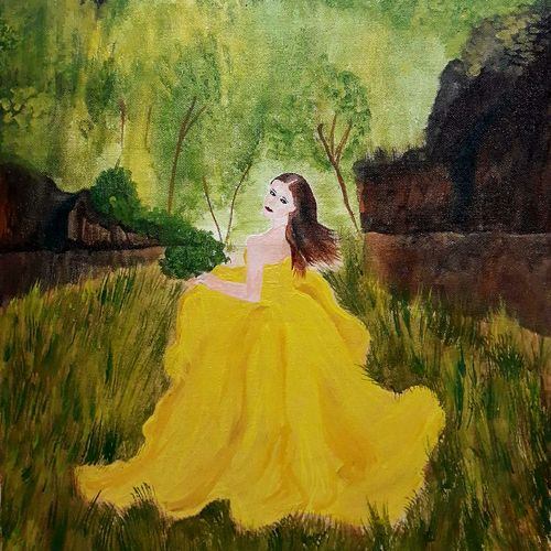 forest fairy , 15 x 22 inch, anitha l,paintings,figurative paintings,nature paintings,paintings for living room,paintings for bedroom,paintings for living room,paintings for bedroom,canvas,acrylic color,15x22inch,GAL0968919643Nature,environment,Beauty,scenery,greenery