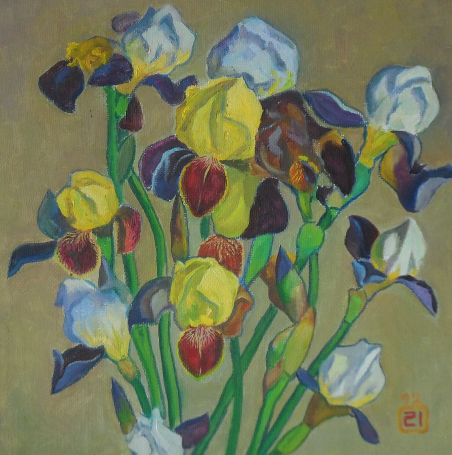 irises, 14 x 13 inch, moesey li,flower paintings,paintings for living room,paintings,canvas,oil paint,14x13inch,GAL07181965
