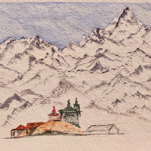shiva's adobe, 12 x 8 inch, jalpa chauhan,paintings,landscape paintings,nature paintings,minimalist paintings,paintings for dining room,paintings for living room,paintings for office,paintings for kids room,paintings for hotel,paintings for school,paintings for hospital,handmade paper,watercolor,12x8inch,GAL0669719651Nature,environment,Beauty,scenery,greenery