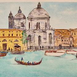 the grandeur of venice, 12 x 8 inch, jalpa chauhan,paintings,cityscape paintings,landscape paintings,paintings for dining room,paintings for living room,paintings for bedroom,paintings for office,paintings for hotel,brustro watercolor paper,watercolor,12x8inch,GAL0669719653