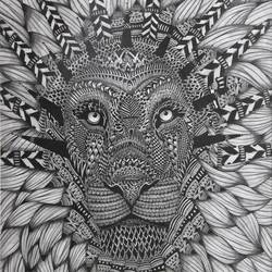 amazing lion design, 15 x 21 inch, vishal gurjar,portrait drawings,paper,pencil color,photo ink,15x21inch