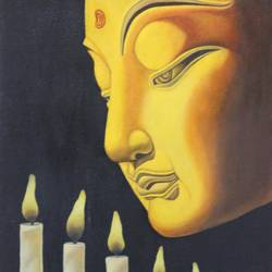 gautam buddha of monument , 16 x 23 inch, vishal gurjar,buddha paintings,paintings for bedroom,paintings for office,paintings for hotel,paintings for school,paintings for hospital,canvas,acrylic color,oil,16x23inch,religious,peace,meditation,meditating,gautam,goutam,buddha,lord,side face,candle,light,yellow