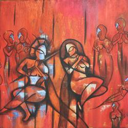 red radha krishna , 19 x 16 inch, vishal gurjar,radha krishna paintings,paintings for office,paintings for hotel,paintings for school,paintings for hospital,canvas,acrylic color,oil,19x16inch