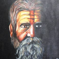 sadhu baba, 15 x 19 inch, vishal gurjar,religious paintings,paintings for office,paintings for hotel,paintings for school,paintings for hospital,canvas,acrylic color,oil,15x19inch