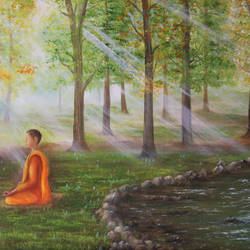 meditation in misty forest, 24 x 18 inch, goutami mishra,paintings,figurative paintings,landscape paintings,modern art paintings,nature paintings,impressionist paintings,photorealism paintings,realism paintings,contemporary paintings,realistic paintings,water fountain paintings,paintings for living room,paintings for bedroom,paintings for office,paintings for kids room,paintings for hotel,paintings for school,paintings for hospital,canvas,oil,24x18inch,GAL046519684Nature,environment,Beauty,scenery,greenery