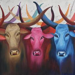 big cow colorful, 34 x 18 inch, vishal gurjar,animal paintings,paintings for office,paintings for hotel,paintings for school,paintings for hospital,paintings for office,paintings for hotel,paintings for school,paintings for hospital,canvas,acrylic color,oil,34x18inch