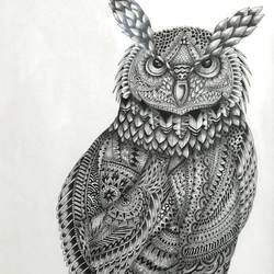 amazing owl design, 22 x 14 inch, vishal gurjar,animal paintings,paintings for bedroom,paintings for office,paintings for hotel,paintings for school,paintings for hospital,paper,ink color,pen color,22x14inch