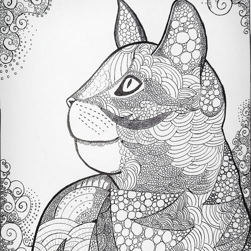 the cat, 12 x 17 inch, sadeev singh,abstract drawings,paintings for living room,paper,ball point pen,12x17inch,GAL07731969