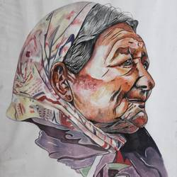 old woman, 13 x 18 inch, vishal gurjar,figurative paintings,modern art paintings,mother teresa paintings,paintings for office,paintings for hotel,paintings for school,paintings for hospital,paper,watercolor,13x18inch