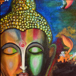 buddha, 12 x 18 inch, sucharita nath,paintings,buddha paintings,paintings for living room,paintings for bedroom,paintings for office,paintings for school,paintings for hospital,canvas,acrylic color,12x18inch,religious,peace,meditation,meditating,gautam,goutam,buddha,lord,colourful,face,flowers,GAL0985019706