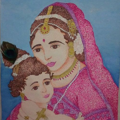 eternal love, 10 x 13 inch, priyanka chordiya,paintings,religious paintings,portrait paintings,drawing paper,poster color,10x13inch,GAL0985319709