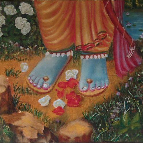 lord rama's feet, 12 x 10 inch, ashutosh  mishra,religious paintings,paintings for living room,canvas,oil,12x10inch,GAL05881971