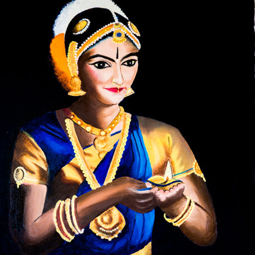lady with lamp, 24 x 36 inch, smita chatterjee,paintings,figurative paintings,portrait paintings,art deco paintings,expressionist paintings,portraiture,realistic paintings,paintings for living room,paintings for hotel,paintings for school,paintings for living room,paintings for hotel,paintings for school,canvas,oil,24x36inch,GAL0985619711