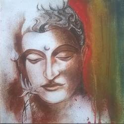 the ascetic king buddha, 24 x 18 inch, sayantan  ghati ,buddha paintings,paintings for living room,cloth,acrylic color,24x18inch,religious,peace,meditation,meditating,gautam,goutam,buddha,lord,brown,GAL07701972