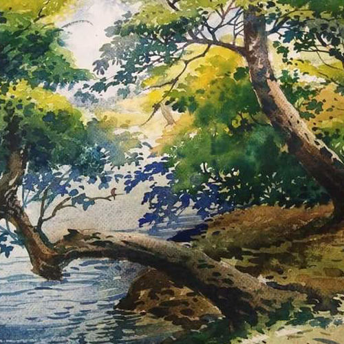 grenery, 14 x 11 inch, arpita  roy,paintings,nature paintings,paintings for dining room,paintings for living room,paintings for bedroom,paintings for office,paintings for hotel,paintings for school,paintings for hospital,cartridge paper,watercolor,14x11inch,GAL0977019725Nature,environment,Beauty,scenery,greenery