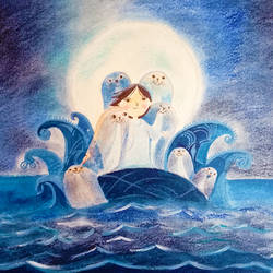 song of the sea, 11 x 10 inch, arpita  roy,paintings,illustration paintings,paintings for living room,paintings for bedroom,paintings for kids room,paintings for school,thick paper,mixed media,11x10inch,GAL0977019729