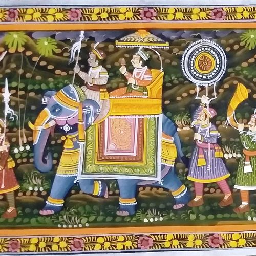 kishangarh shelly 08, 36 x 15 inch, vishal gurjar,figurative paintings,animal paintings,horse paintings,elephant paintings,paintings for living room,paintings for bedroom,paintings for office,paintings for hotel,paintings for school,cloth,poster color,36x15inch