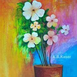 flower pot, 14 x 20 inch, a.b.  kaser,flower paintings,paintings for living room,thick paper,acrylic color,14x20inch,GAL06361974