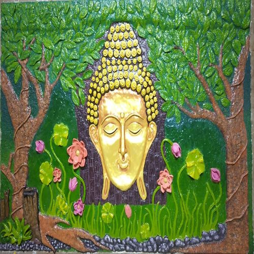 budha 3d clay, 72 x 48 inch, budi sadhana,paintings,buddha paintings,religious paintings,ply board,acrylic color,enamel color,oil,72x48inch,religious,peace,meditation,meditating,gautam,goutam,buddha,lord,forest,trees,golden,flowers,GAL0555119756