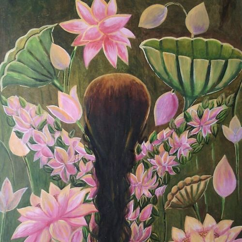 rejuvenation, 21 x 28 inch, devirani dasgupta,paintings for living room,vertical,flower paintings,canvas,mixed media,21x28inch,GAL03971976