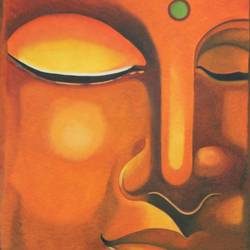 gautam buddha, 27 x 46 inch, vishal gurjar,buddha paintings,paintings for bedroom,paintings for office,paintings for hotel,paintings for school,paintings for hospital,canvas,acrylic color,oil,27x46inch,religious,peace,meditation,meditating,gautam,goutam,buddha,lord,orange,face