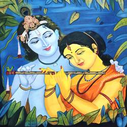 radha krishna love story, 33 x 37 inch, vishal gurjar,radha krishna paintings,paintings for living room,paintings for office,paintings for hotel,paintings for school,paintings for hospital,canvas,acrylic color,oil,33x37inch