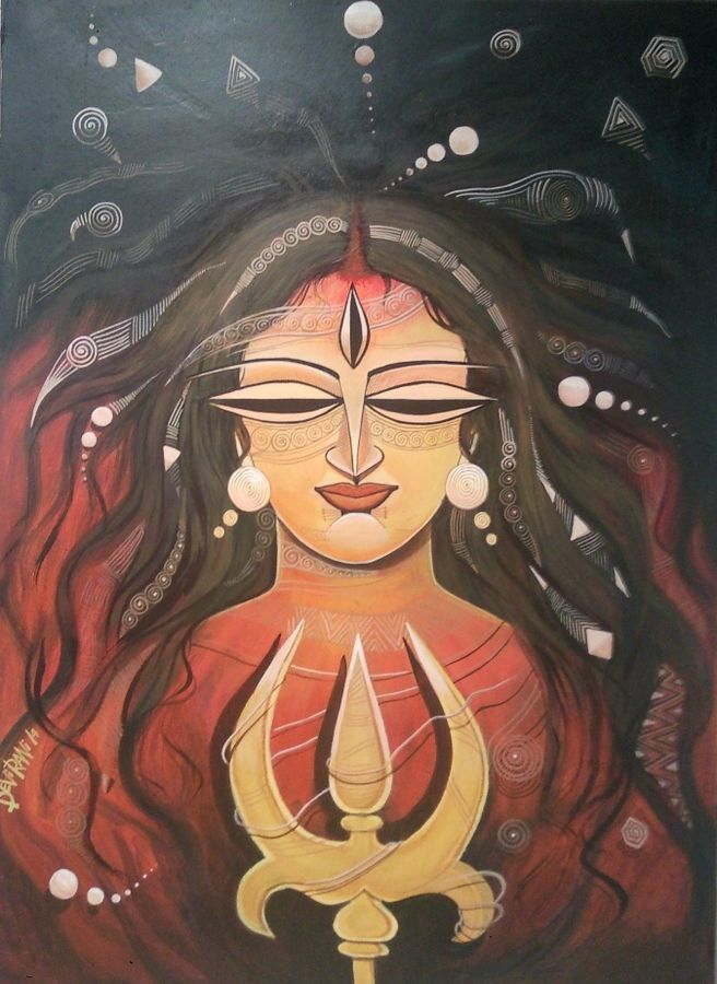 devi -1, 21 x 28 inch, devirani dasgupta,religious paintings,paintings for living room,paintings for office,vertical,canvas,mixed media,21x28inch,GAL03971977