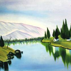 beautiful idyllic country side, 22 x 14 inch, vishal gurjar,nature paintings,paintings for office,paintings for kids room,paintings for hotel,paintings for school,paintings for hospital,canvas,oil,22x14inchNature,environment,Beauty,scenery,greenery