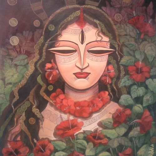 devi -2, 21 x 28 inch, devirani dasgupta,religious paintings,paintings for living room,paintings for office,vertical,canvas,mixed media,21x28inch,GAL03971978