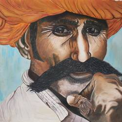 turban man rajasthan, 46 x 31 inch, vishal gurjar,figurative paintings,still life paintings,paintings for bedroom,paintings for office,paintings for hotel,paintings for school,paintings for hospital,canvas,oil,46x31inch