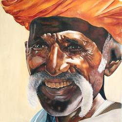 rural man laughing, 33 x 33 inch, vishal gurjar,figurative paintings,still life paintings,paintings for bedroom,paintings for office,paintings for hotel,paintings for school,paintings for hospital,canvas,oil,33x33inch