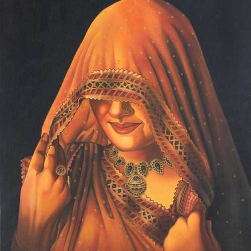 rajasthan's traditional dress, 27 x 33 inch, vishal gurjar,figurative paintings,still life paintings,paintings for living room,paintings for bedroom,paintings for office,paintings for hotel,paintings for hospital,canvas,oil,27x33inch