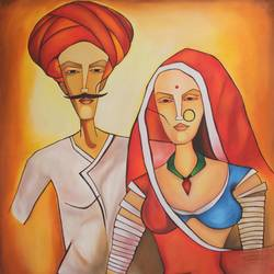 rural man-woman rajasthan , 34 x 37 inch, vishal gurjar,figurative paintings,still life paintings,paintings for bedroom,paintings for office,paintings for hotel,paintings for school,paintings for hospital,paintings for bedroom,paintings for office,paintings for hotel,paintings for school,paintings for hospital,canvas,acrylic color,oil,34x37inch
