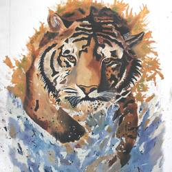 lion running in water full, 16 x 22 inch, vishal gurjar,wildlife paintings,animal paintings,paintings for living room,paintings for bedroom,paintings for office,paintings for hotel,paintings for school,canvas,oil,16x22inch