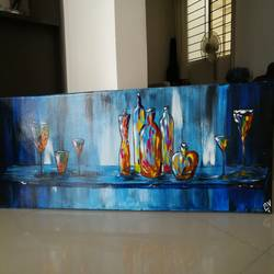 friday evening party : glass bottle with glass, 38 x 13 inch, priyavrath dakua,modern art paintings,religious paintings,canvas,acrylic color,oil,poster color,watercolor,38x13inch,GAL0955919787