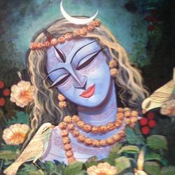 devi -3, 21 x 28 inch, devirani dasgupta,religious paintings,paintings for living room,paintings for office,vertical,canvas,mixed media,21x28inch,GAL03971979