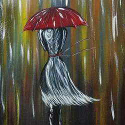 girl walking in the rain, 12 x 15 inch, priyavrath dakua,abstract paintings,still life paintings,paintings for living room,paintings for bedroom,paintings for office,paintings for hotel,canvas,acrylic color,oil,poster color,watercolor,12x15inch,GAL0955919792