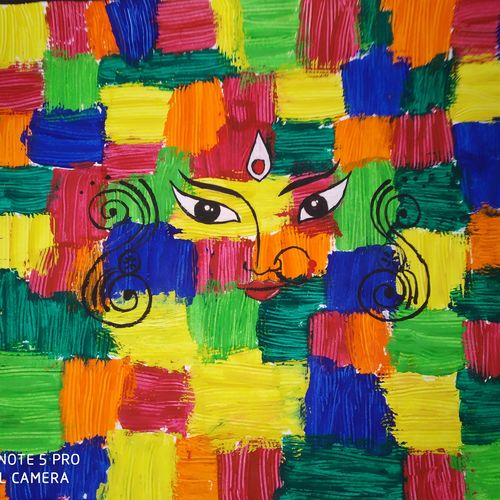 devi, 14 x 11 inch, hiral trivedi,paintings,religious paintings,paintings for living room,paintings for hotel,paintings for living room,paintings for hotel,drawing paper,watercolor,14x11inch,GAL0980419797