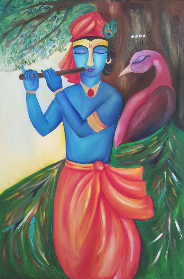 krishna and the peacock, 24 x 36 inch, amaey parekh,religious paintings,paintings for living room,radha krishna paintings,canvas,oil,24x36inch,GAL075198