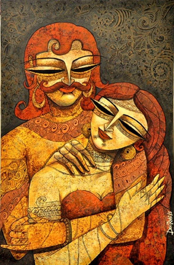 king & queen - 2 , 24 x 36 inch, devirani dasgupta,figurative paintings,paintings for living room,paintings for bedroom,canvas,acrylic color,24x36inch,GAL03971981