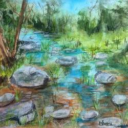scenery -  water stones trees, 14 x 10 inch, bharathi sivakumar,landscape paintings,nature paintings,arches paper,pencil color,watercolor,14x10inch,GAL0963019830Nature,environment,Beauty,scenery,greenery