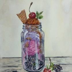 ice cream in mason jar -  still life - glass jar, 9 x 12 inch, bharathi sivakumar,still life paintings,arches paper,watercolor,9x12inch,GAL0963019832