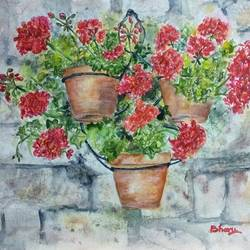 wall hanging pots of geranium flowers - flowers on wall - stone wall, 14 x 10 inch, bharathi sivakumar,flower paintings,arches paper,pencil color,watercolor,14x10inch,GAL0963019833
