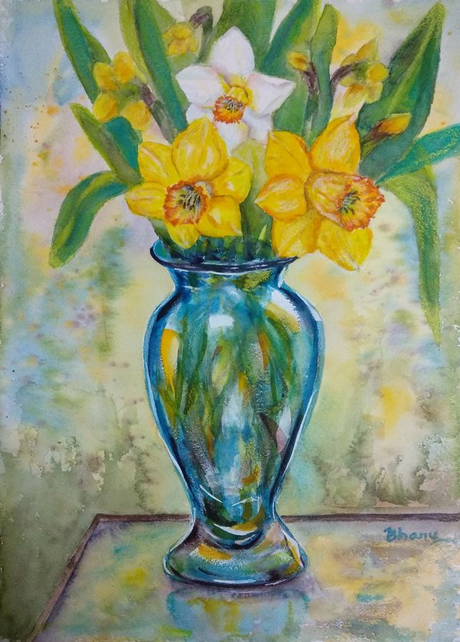 blue glass vase of daffodils on glass table in the garden - flowers, 10 x 14 inch, bharathi sivakumar,paintings,flower paintings,still life paintings,arches paper,pencil color,watercolor,10x14inch,GAL0963019836