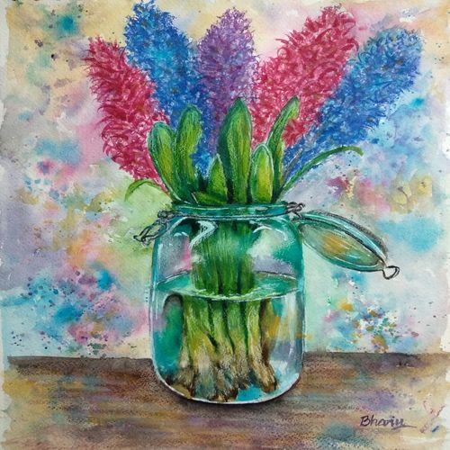 glass flower vase with hyacinth flowers, 10 x 14 inch, bharathi sivakumar,paintings,flower paintings,still life paintings,arches paper,pencil color,watercolor,10x14inch,GAL0963019837