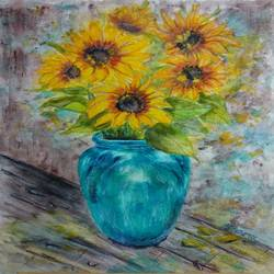 sunflowers in blue vase -  vangough style, 10 x 14 inch, bharathi sivakumar,paintings,flower paintings,still life paintings,impressionist paintings,arches paper,pencil color,watercolor,10x14inch,GAL0963019838