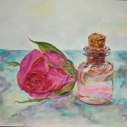 mini rose-water bottle and  red rose , 14 x 10 inch, bharathi sivakumar,flower paintings,still life paintings,paintings,arches paper,mixed media,watercolor,14x10inch,GAL0963019842